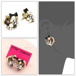 Betsey Johnson Pearl Black Bow Stud Earrings